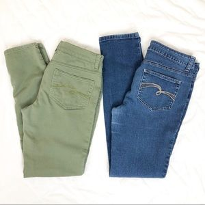 JUSTICE Girls Lot Green and Blue Denim Pants